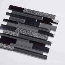 Soulscrafts Glass Mixed Quartz Strip Shaped Mosaic Tiles for Wall Decoration