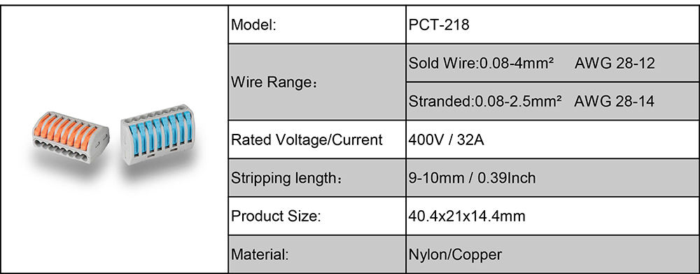 Pct-218 Pct-212 PCT-214 Quick Splice Wire Connector Electrical