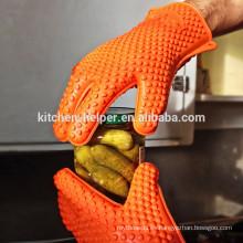 Cocina del diseño de encargo que cocina el guante resistente del calor del silicón de la cocina / el guante del Bbq del horno de la parrilla del silicón / el mitón del horno