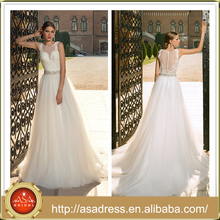 BIE-09 Charming Hand-Beaded Embroidered Lace Bodice Wedding Gown Full Length Tulle Long Train A Line Wedding Dress
