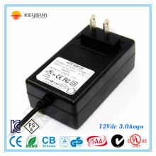 Keysun 12V 3A fonte de alimentação de néon 36W UL1310 Classe 2