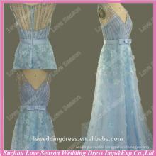WL0068 Sheer back cap sleeve beaded flowers real pictures prom dresse sky blue dress beautiful beading elegant evening dress