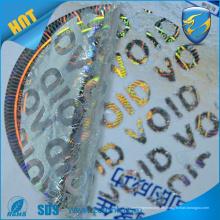 2016 heiße Verkauf void 3d Hologrammaufkleber, hohes dpi Hologrammaufkleber mit uv Drucksicherheitsfunktion
