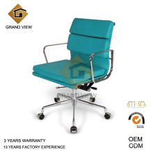 Chaise en cuir bleu pivotante réunion visiteur (GV-EA217)