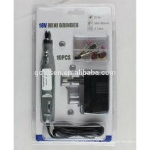 DC Cordless portátil gravura Carver Hobby Rotary Power Tools Kits Broca 10pcs Electric 18v Mini Grinder