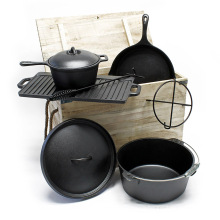 Cast Iron Camping Cookware Set with Skillet Griddle Dutch Oven