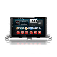 Kaier factory + Quad core Full touch android 4.4.2 car dvd para Toyota Highlander 2015 + OEM + 1024 * 600 + mirrior link + TPMS