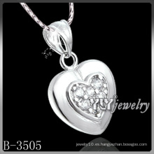 Corazón de la manera Cubic Zirconia con plata de ley 925 (B-3505)