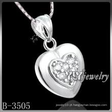 Zircônia cúbica de coração de moda com 925 prata esterlina (B-3505)