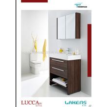 Cheap Price Vanity de salle de bain en faïence en noyer Melamine Coated Mdf porte et carcasse avec miroir Wall Cabinet