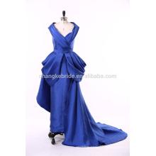 Best Quality 2016 Royal Blue Floor Length Satin Muslim Evening Dress