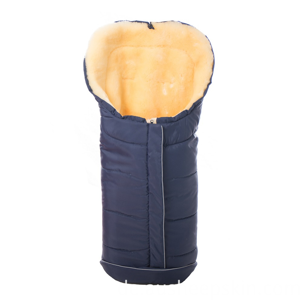 Sheepskin Baby Sleeping Bag Natural Navy