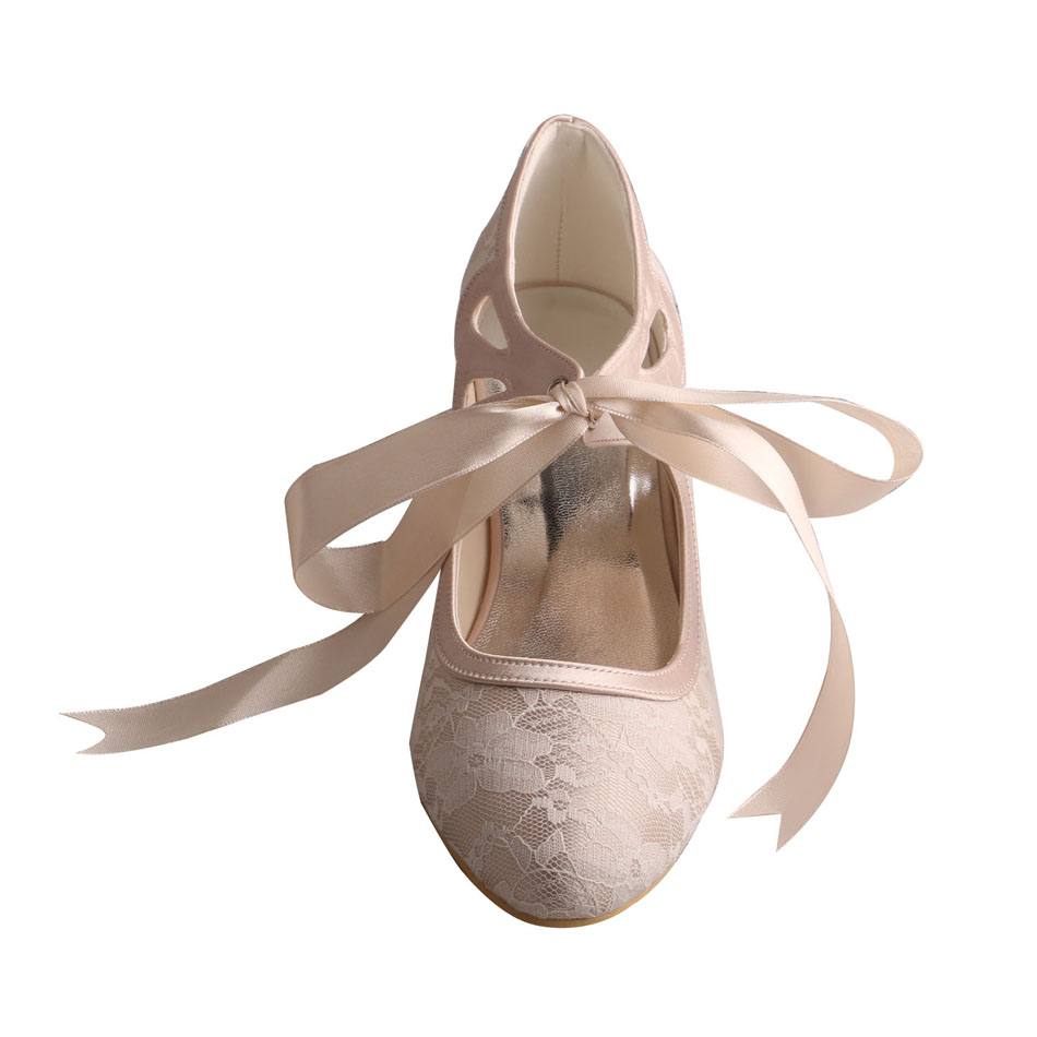 Low Heel Lace Bridal Shoes 8