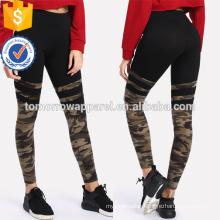 Camo Print Varsity Striped Leggings OEM/ODM Manufacture Wholesale Fashion Women Apparel (TA7042L)