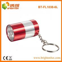 Factory Supply Small Pocket Size Aluminium 6 led mini led Flash Keychain