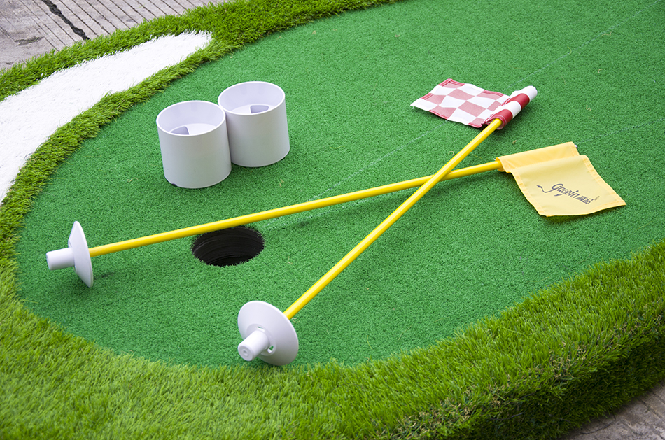 golf putting green cups and flags