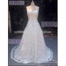 A Line One Shoulder V Neck Beaded Vestido de casamento Soft Lace Long Tail Weddng Vestido 2015 Hot Sale