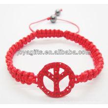 Pulseira vermelha com logotipo da paz
