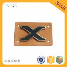 LB373 Кожа PU этикетка для джинсов, коричневый цвет металлической кожи Логотип Патчи