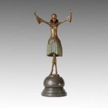 Dancer Bronze Sculpture Dancing Girl Carving Brass Statue TPE-311b