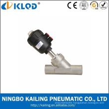 Piston operated welding angle seat valves