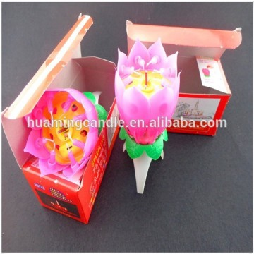 Lotus Flower Happy Birthday Cake Candle