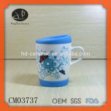 ceramic coffee mug with silicone bottom and lid,Chinese ceramic tea mug with lid,mug in individual white box