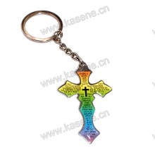 Colourful Stainless Steel Cross Pendant with Prayer English Words Keychain
