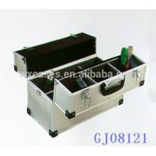 caja de herramienta de aluminio fuerte con una bandeja y 6 compartimientos ajustables en la parte inferior caso