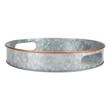 Home Decor Galvanized Tray Round