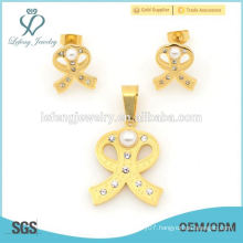 Western style vintage jewelry sets,316l stainless steel yellow gold pearl earrings and lockets sets