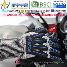 Перчатки с защитой от порезов и ударов, 15 г Hppe Shell Cut-Level 3, Sandy Nitrile с покрытием лаком, анти-ударный TPR на спине Механические перчатки