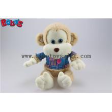 En71 Approved Cuddly Plüsch Baby Affe Spielzeug mit blauem T-Shirt Bos1161