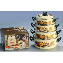 5pcs printing decal safty enamelware pinnacle casserole set
