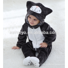 Soft baby Flannel Romper Animal Onesie Pajamas Outfits Suit,sleeping wear,cute black cloth,baby hooded towel