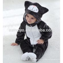 Мягкие детские Фланелевые ползунки onesie пижамы животных костюм костюмы,спальные износа,милой черной тканью,детское полотенце с капюшоном
