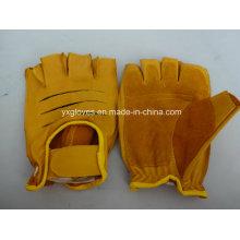 Guante de cuero de vaca-medio dedo guante-deporte guante de trabajo Guantes de seguridad-guantes