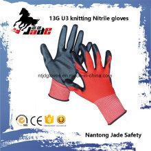 13G U3 Strickpalme Schwarz Nitril Glatter Überzug Handschuh