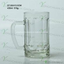 430ml Small Glass Bear Cup with Strip Nice Shape