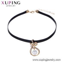 44242 joyería de las mujeres hermosas diseño especial forma de bowknot perla bisel ajuste gargantilla de cuero colgante nacklace