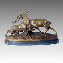 Tier Statue Hirsche Kampf Bronze Skulptur, C. Masson Tpal-096