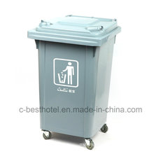 Eco-Friendly Environmentally Outdoor Plastic Trash Bin Rubber Wheel