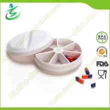 Runde Plastik Pille-Box, 7-Tage Wöchentliche Pille Fall