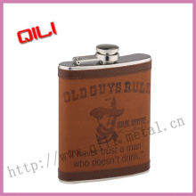 special fashion stainless stee leather wrappedl hip flask