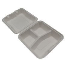 Natural Healthy 3 Compartment Bagasse Food Container Portable Lunch Box For Take Out