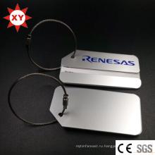 Пользовательская печать логотипа серебряная алюминиевая багажная бирка