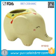 Creativo lindo cerámica elefante Garden Pot