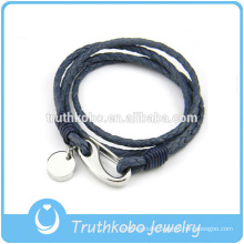 Wholesale Women's Leather Bracelet with Stainless Steel Lobster Clasps With Circle Handmade Leather Bracelet