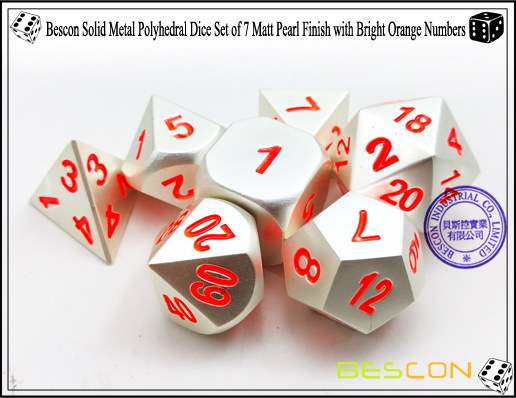 Bescon Solid Metal Polyhedral Dice Set of 7 Matt Pearl Finish with Bright Orange Numbers-7