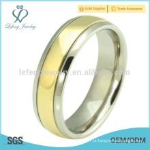 Jóia de moda anel de ouro simples 24k sem diamante